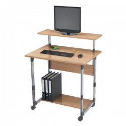 Carrello portacomputer Durable - argento metallizzato/faggio - 80x56,4x92,5-122,5 cm - 3