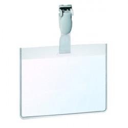 Portabadge in PVC con clip in plastica Durable - 6x9 cm - con tasca aperta (conf.25)