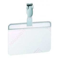 Portabadge in PVC con clip in plastica Durable - 5,4x9 cm - autolaminante (conf.25)