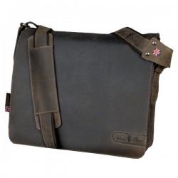 Borsa a tracolla in pelle Bag Ben Juscha - 37x33x13 cm - marrone