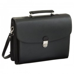 Cartella per documenti in similpelle Juscha - 40x15x32 cm - nero