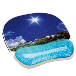 Mousepad con poggiapolsi Photo Gel Fellowes - spiaggia tropicale